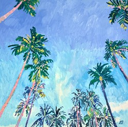 Palm Avenue by Leila Barton - Original Painting on Box Canvas sized 32x32 inches. Available from Whitewall Galleries